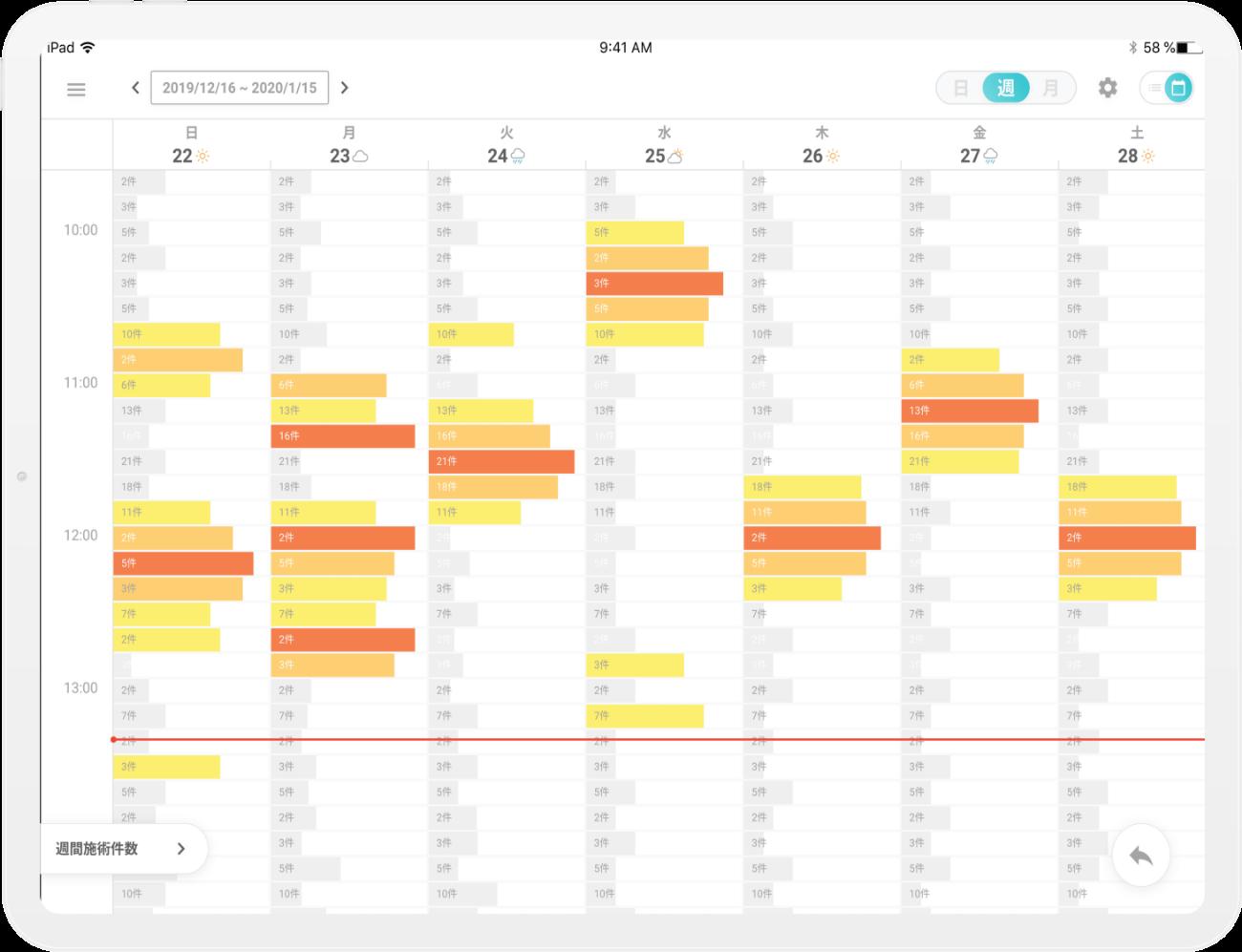 予約管理 - カレンダー(週表示)のモック